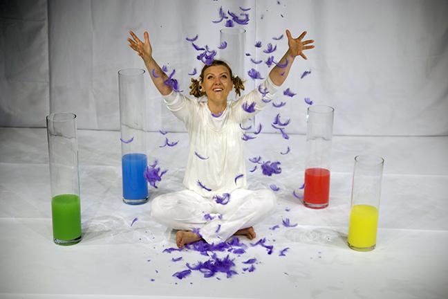 Set de Regenboog met paarse veren